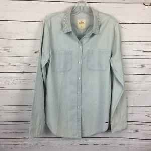 Hollister Chambray Button Down Shirt, Size M